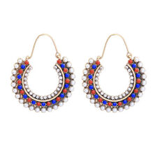 Boucles d'Oreille Dormeuse Doré Ethnique Mini Perle Multicolore Bleu Orange XX21