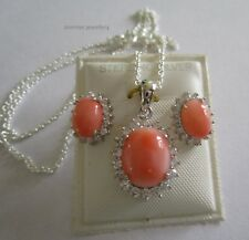 Genuine 925 Sterling Silver Pink Coral Earrings and Pendant Set