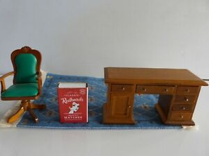 Doll's House Furniture Desk, Chair & Rug.