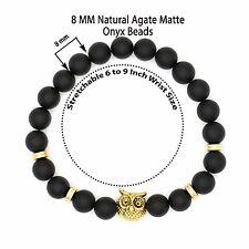 Black Agate Onyx Lucky Stone Golden Owl Charm Energy & Power 8 mm Beads Bracelet