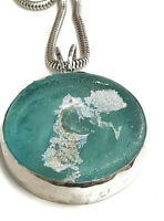 Roman Glass Silver 925 Pendent Antique Bluish Green Ancient Fragment 200 B.C