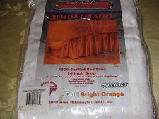 "Bright Orange Bedskirt Bed Skirt Size Full Ruffled 14"" Drop Nfl Tennessee Vols"