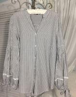 NEW ~ S Small Black White Stripe Jones Boho Top Shirt Peasant Blouse $69