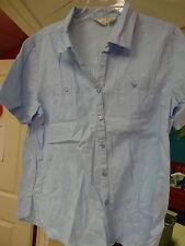 Kim Rogers Ladies Womens Short Sleeve Button Down Top Blouse Lt Blue Size Medium