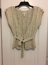 Aeropostale 1 Button Tie Front Cream Ivory Brown Angora Cardigan Sweater Medium