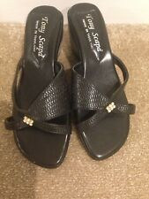 Brand New Black Leather Ladies Mules (size 6)