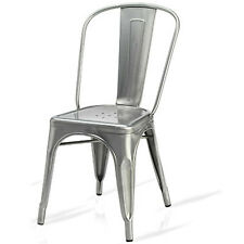 TOLIX BRUSHED STEEL METAL CHAIRS STACKING RETRO BISTRO CAFE RESTAURANT SILVER