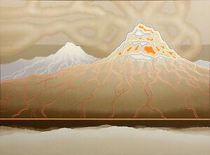 "Richard Gilbert ""Mountain Smoking"" Hand Signed Serigraph Fine Art, volcano, lava"
