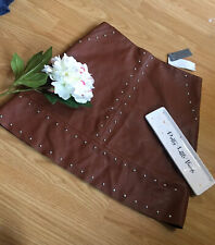 Warehouse Sz 10 Bnwt Chocolate Brown Studded A-line Skirt Faux Leather