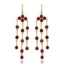 Garnet Gemstone 925 Sterling Silver Plated Chandelier Earrings Wonderful Jewelry
