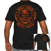 Mens Born To Ride, Ride To Live Biker Life T-Shirt -Motorcycle Skull Shirts HD