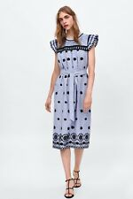 1f5eb8dc Zara Embroidered Striped Sky Blue Midi Dress With Tags Size Medium M