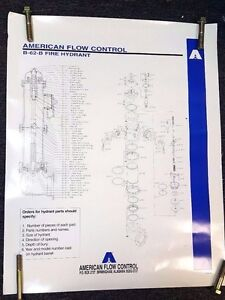 American Flow Control Darling B-62-B Fire Hydrant Parts Poster, #4-95-3M.