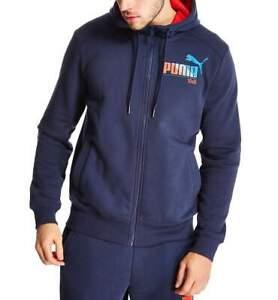 Puma Mens Navy Blue Graphic Full Zip Hoodie Hoody
