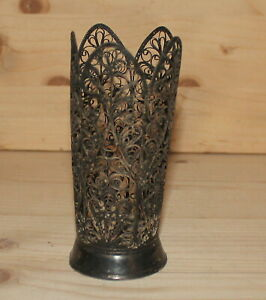 Antique Russian Art Nouveau hand made silver plated filigree floral vase