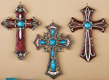 "3 PC Western Wall Cross Set Hanging Decor Turquoise Crystal Crucifix Cross 6""x4"""