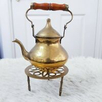 Vintage Small Engraved Brass Teapot Kettle on Trivet Three Legs Stand Fireplace