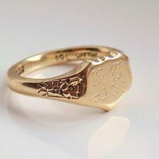 Fine Vintage 9ct oro a forma di SCUDO Anello Con Sigillo c1964; Taglia UK Anello AM 1/2'
