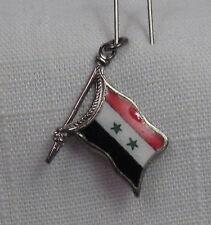 Vintage REU Sterling/Enamel Syria/SAR Flag Shaped Bracelet Charm - NOS