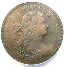 1797 Draped Bust Large Cent 1C Coin - Certified ANACS VF20 Details - Rare!