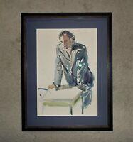 Vintage Portrait Painting Gentleman Man Male Mid Century Modern