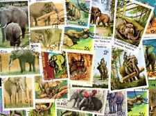 Eléphants 25 timbres différents oblitérés