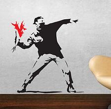 Banksy wall stickers Hooligan jetant fleurs riot art stickers