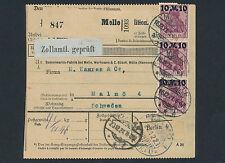 Dt. Reich Germania + Aufdruck Auslandspaketkarte Melle Schweden 1921 (S12691)
