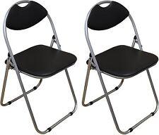 2 x Harbour Housewares Black Padded, Folding, Desk Chairs