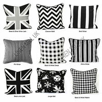 Fashionable 100%Cotton Trendy Black & White Cushion Cover Decorative Size 18x18""