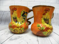"""2 Orange Rooster by Maxcera Corp Mug Curvy Cup Sunflower Leaf Design In 5"""""""