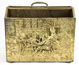 Vintage Hammered Brass Metal Magazine Rack Box Holder Home Décor