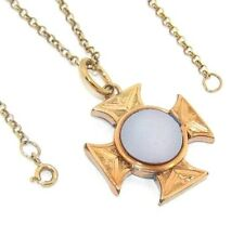 antique rolled gold Maltese cross pendant Ladies/womens 9ct gold chain with an