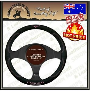 RM Williams Steering Wheel Cover Leather 15 Inch  Black with Jillaroo Logo 380mm