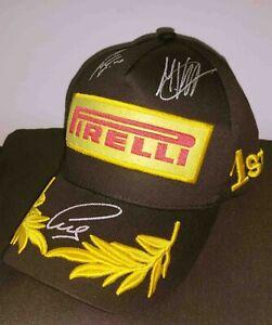 2021 F1 Lewis Hamilton Max Verstappen Carlos Sainz signed podium hat Formula 1