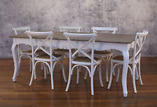 Setting 7 PIECE 2x1m Dining Table & Cross Back Chairs French Provincial Package