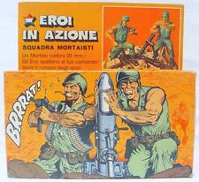 Mattel Italy HEROES IN ACTION US Army MORTAR GUN TEAM Action Figures Set MIB`74!