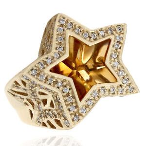 Sonia B. Star Shaped Citrine & Diamond Ring in 14K Yellow Gold