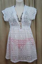 J Valdi Swim Cover Sz M White Jacquard Short Sleeve Beach Swimsuit Cover-Up