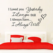 I Love You Wall Stickers Art Vinyl Quote Decal Mural Home Room Decor Removable