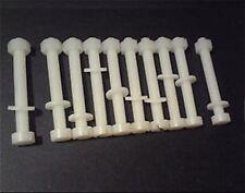 10 Nylon Plastic Screw Sets, M6 Nut, Washer & Bolt 75mm Length