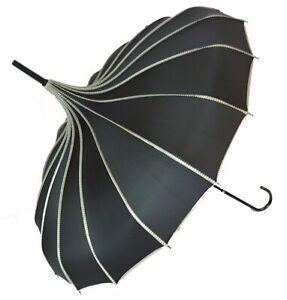 Grey Polka Dot Pagoda Umbrella