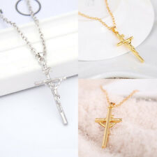 Silver Stainless Steel Gold JESUS CROSS Crucifix Pendant Rope Chain Necklace