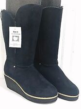 New 385 FIFTH Black Boots Ladies 8 Faux Suede Two Tone Wedge Heels NWT Lined