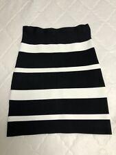 New $148 BCBG Max Azria Power Black White Bandage skirt Tube Size S mini