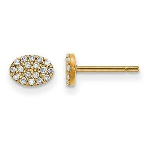 14k Yellow Gold Genuine Diamonds Pave Oval Design Flat Disk Stud Post Earrings