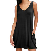 Women's Plain Boyfriend Short Sleeve With Pockets Ladies A-Line Mini Dress Tunic