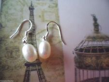 Vintage genuine Pearl Earrings with Sterling Silver hooks ear rings White Pearls