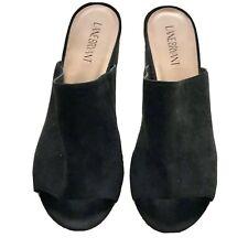Lane Bryant Suede Black Open Toe Mule Block High Heel Sandal Size 10W Slide In-3