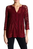 Lucky Brand - Womens XS - NWT $59 - Wild Currant Red Lace Mixed Media Top Blouse